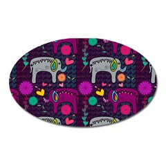 Colorful Elephants Love Background Oval Magnet by Simbadda