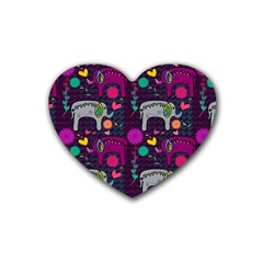 Colorful Elephants Love Background Rubber Coaster (heart)  by Simbadda