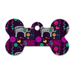 Colorful Elephants Love Background Dog Tag Bone (one Side) by Simbadda