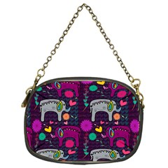 Colorful Elephants Love Background Chain Purses (one Side)  by Simbadda