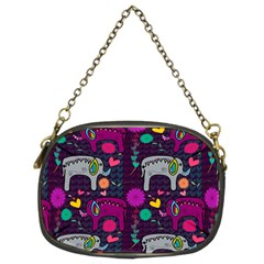 Colorful Elephants Love Background Chain Purses (two Sides)  by Simbadda