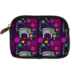 Colorful Elephants Love Background Digital Camera Cases by Simbadda