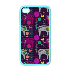 Colorful Elephants Love Background Apple Iphone 4 Case (color) by Simbadda
