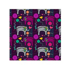 Colorful Elephants Love Background Small Satin Scarf (square) by Simbadda