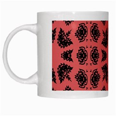 Digital Computer Graphic Seamless Patterned Ornament In A Red Colors For Design White Mugs by Simbadda