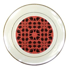 Digital Computer Graphic Seamless Patterned Ornament In A Red Colors For Design Porcelain Plates by Simbadda