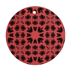 Digital Computer Graphic Seamless Patterned Ornament In A Red Colors For Design Round Ornament (two Sides) by Simbadda