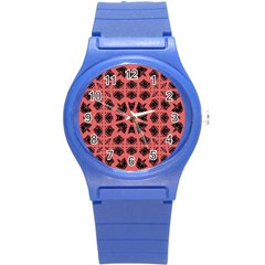 Digital Computer Graphic Seamless Patterned Ornament In A Red Colors For Design Round Plastic Sport Watch (s) by Simbadda