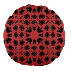 Digital Computer Graphic Seamless Patterned Ornament In A Red Colors For Design Large 18  Premium Flano Round Cushions by Simbadda