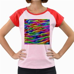 Digitally Created Abstract Rainbow Background Pattern Women s Cap Sleeve T Shirt