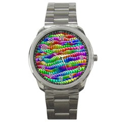 Digitally Created Abstract Rainbow Background Pattern Sport Metal Watch by Simbadda