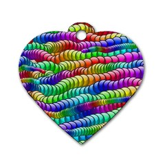 Digitally Created Abstract Rainbow Background Pattern Dog Tag Heart (one Side) by Simbadda