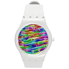 Digitally Created Abstract Rainbow Background Pattern Round Plastic Sport Watch (m) by Simbadda