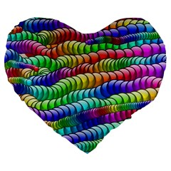 Digitally Created Abstract Rainbow Background Pattern Large 19  Premium Heart Shape Cushions by Simbadda