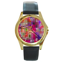 Background Abstract Weave Of Tightly Woven Colors Round Gold Metal Watch by Simbadda