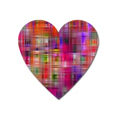 Background Abstract Weave Of Tightly Woven Colors Heart Magnet by Simbadda
