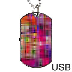Background Abstract Weave Of Tightly Woven Colors Dog Tag Usb Flash (two Sides) by Simbadda
