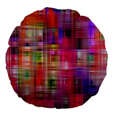 Background Abstract Weave Of Tightly Woven Colors Large 18  Premium Round Cushions by Simbadda