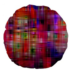 Background Abstract Weave Of Tightly Woven Colors Large 18  Premium Flano Round Cushions by Simbadda