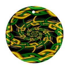 Green Yellow Fractal Vortex In 3d Glass Ornament (round) by Simbadda