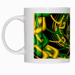 Green Yellow Fractal Vortex In 3d Glass White Mugs by Simbadda