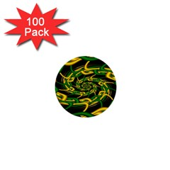 Green Yellow Fractal Vortex In 3d Glass 1  Mini Buttons (100 Pack)  by Simbadda