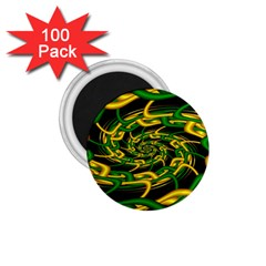 Green Yellow Fractal Vortex In 3d Glass 1 75  Magnets (100 Pack)  by Simbadda