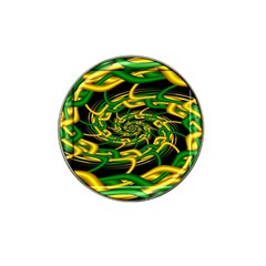 Green Yellow Fractal Vortex In 3d Glass Hat Clip Ball Marker (10 Pack) by Simbadda