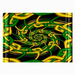 Green Yellow Fractal Vortex In 3d Glass Large Glasses Cloth by Simbadda