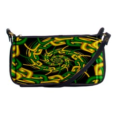Green Yellow Fractal Vortex In 3d Glass Shoulder Clutch Bags by Simbadda