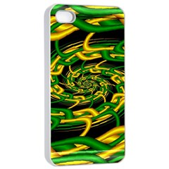 Green Yellow Fractal Vortex In 3d Glass Apple Iphone 4/4s Seamless Case (white) by Simbadda