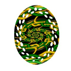 Green Yellow Fractal Vortex In 3d Glass Ornament (oval Filigree) by Simbadda