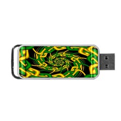Green Yellow Fractal Vortex In 3d Glass Portable Usb Flash (two Sides) by Simbadda