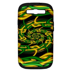Green Yellow Fractal Vortex In 3d Glass Samsung Galaxy S Iii Hardshell Case (pc+silicone) by Simbadda