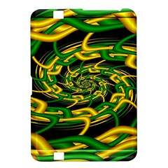 Green Yellow Fractal Vortex In 3d Glass Kindle Fire Hd 8 9  by Simbadda