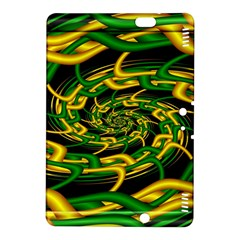 Green Yellow Fractal Vortex In 3d Glass Kindle Fire Hdx 8 9  Hardshell Case by Simbadda