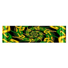 Green Yellow Fractal Vortex In 3d Glass Satin Scarf (oblong) by Simbadda