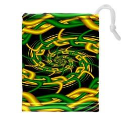 Green Yellow Fractal Vortex In 3d Glass Drawstring Pouches (XXL) by Simbadda