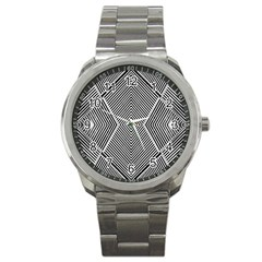Black And White Line Abstract Sport Metal Watch by Simbadda