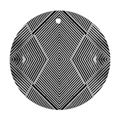 Black And White Line Abstract Round Ornament (two Sides) by Simbadda