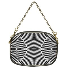 Black And White Line Abstract Chain Purses (one Side)  by Simbadda