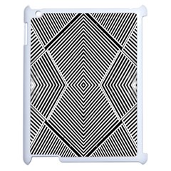 Black And White Line Abstract Apple iPad 2 Case (White) by Simbadda