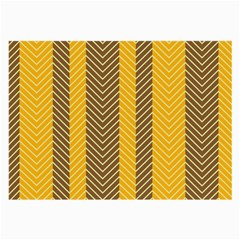 Brown And Orange Herringbone Pattern Wallpaper Background Large Glasses Cloth (2 Side) by Simbadda