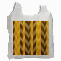 Brown And Orange Herringbone Pattern Wallpaper Background Recycle Bag (two Side)  by Simbadda