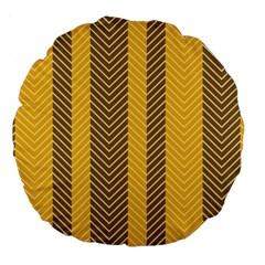 Brown And Orange Herringbone Pattern Wallpaper Background Large 18  Premium Round Cushions by Simbadda