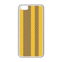 Brown And Orange Herringbone Pattern Wallpaper Background Apple Iphone 5c Seamless Case (white) by Simbadda