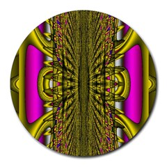 Fractal In Purple And Gold Round Mousepads by Simbadda