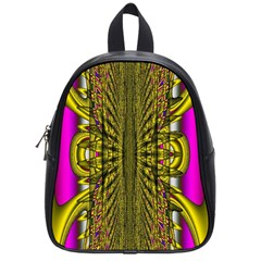 Fractal In Purple And Gold School Bags (small)  by Simbadda