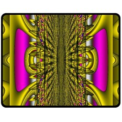 Fractal In Purple And Gold Double Sided Fleece Blanket (medium)  by Simbadda