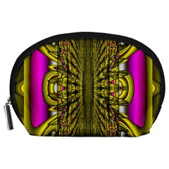 Fractal In Purple And Gold Accessory Pouches (large)  by Simbadda